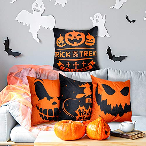 Johouse Halloween Pillow Covers, 4PCS Trick or Treat Halloween Throw Pillow Case, Halloween Decoration, 18X18inch