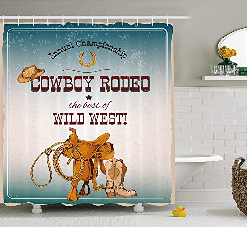 ADAM MARTINEZ JR Western Shower Curtain, Cowboy Rodeo Championship The Best of Wild West Poster Design Elements, Fabric Bathroom Decor Set with Hooks, 84 Inches Extra Long, Blue Burgundy Orange ()