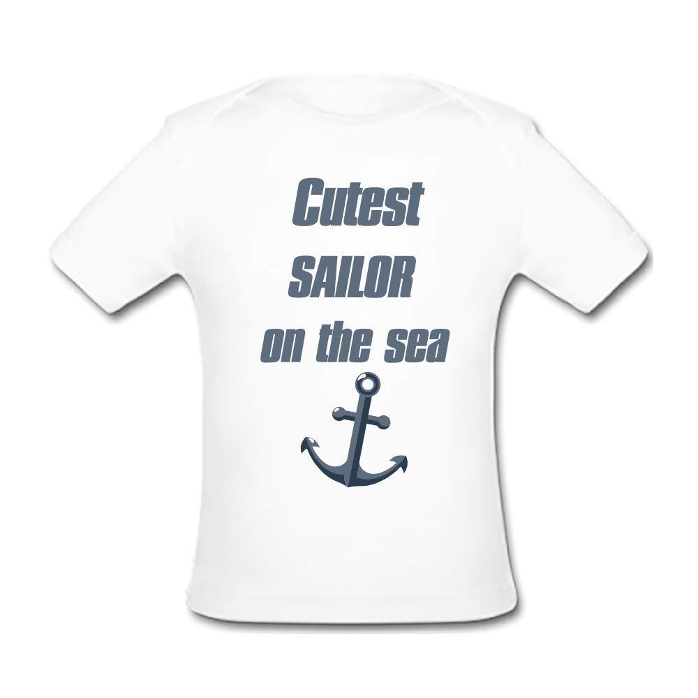 BrowneOLp Infant Tee Cutest Sailor On The Sea Baby Organic Short Sleeve T-Shirt