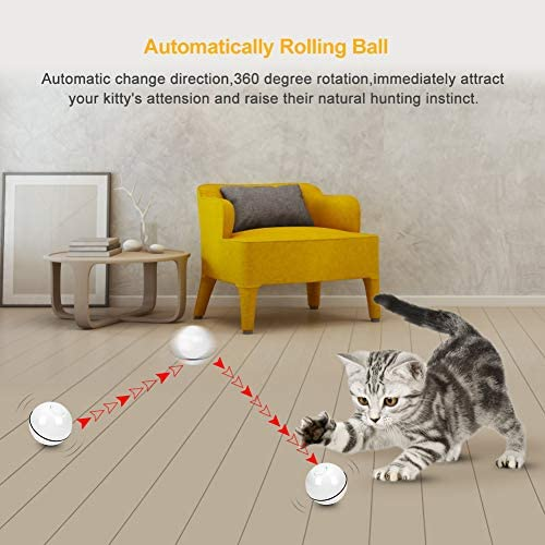 Octarch Interactive Cat Toy, USB Rechargeable Cat Toy Ball,360 Degree Automatic Rolling Pet Toy,Glitter Led Light Attact Your Kitty More Exercise and Stimulate Hunting Instinct 4
