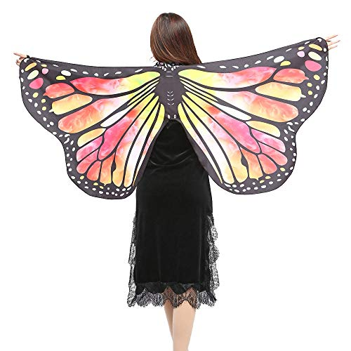 VEFSU Women Party Butterfly Wings Shawl Scarves Ladies Nymph Pixie Poncho Costume Accessory (Yellow) for $<!--$9.68-->