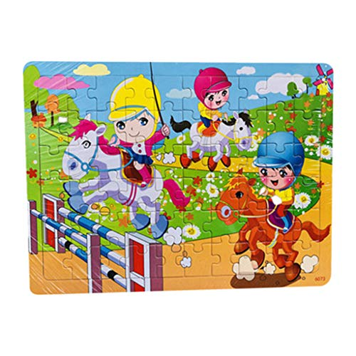 Binory 60pcs Kids Wooden Peg Puzzles Play Set,Include Animal,Fairy Tale,Numbers,Letters Etc Knob Board,Preschool Learning Jigsaw Puzzles,Developing Cognitive Ability Gift for Toddlers Boys Girls(I) ()