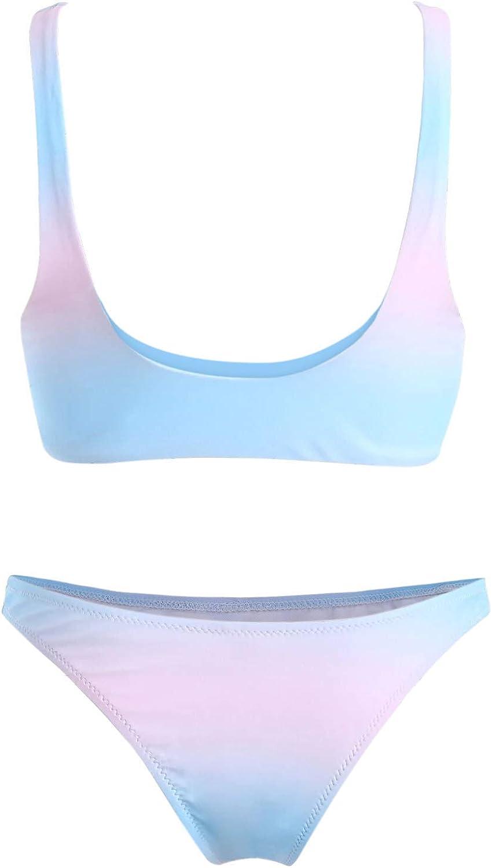 Mujer Degradado de Color Frente de Nudo de Corbata Conjunto de Bikini C/áscara Trajes de ba/ño de Dos Piezas