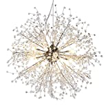 GDNS Chandeliers Firework LED Light Stainless Steel Crystal Pendant Lighting LED Globe Living Room Review