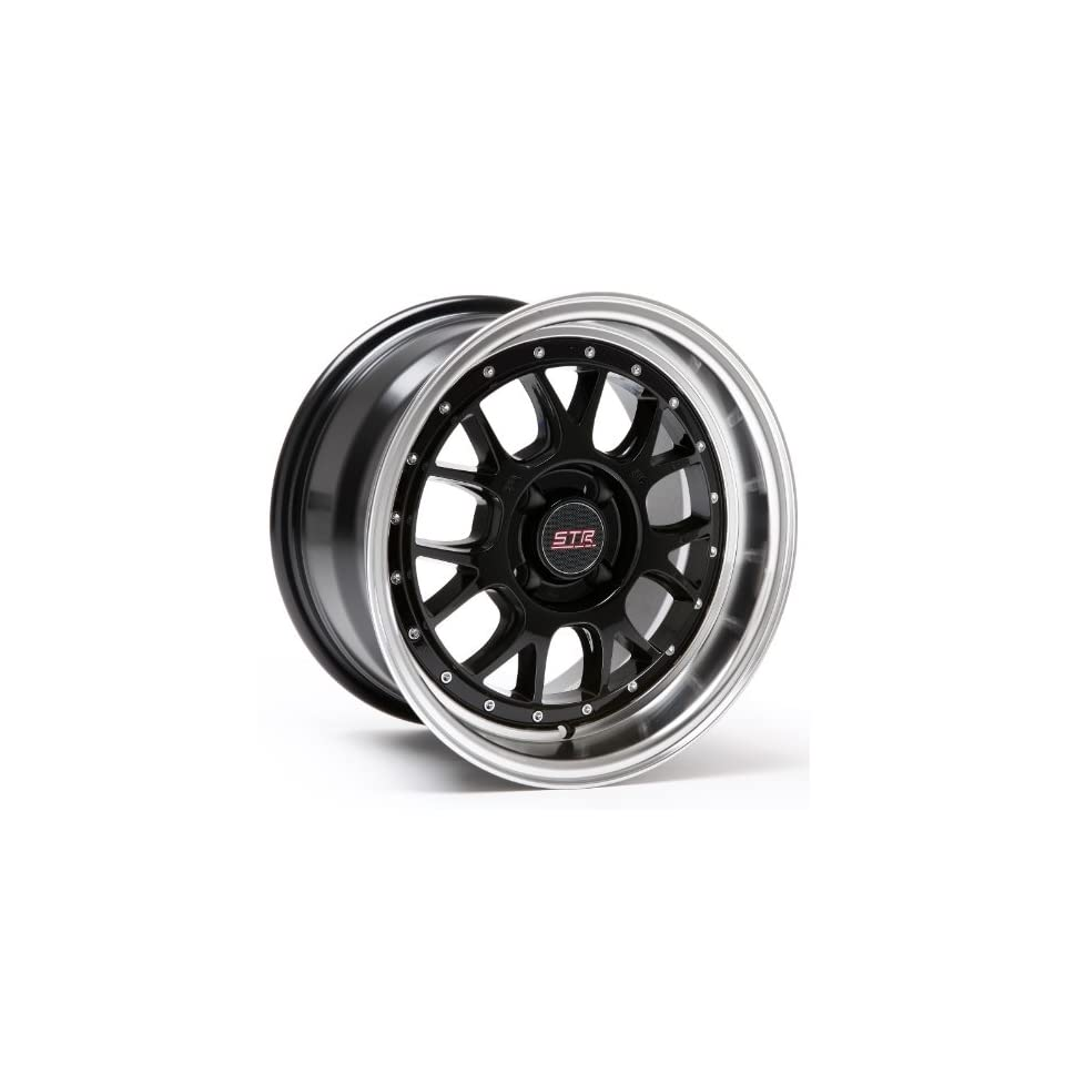 STR Racing 502 Black Machine Lip 4x100 15x8 Inch Wheel +10 offset Automotive