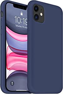 OUXUL iPhone 11 Case,iPhone 11 Liquid Silicone Gel Rubber Phone Case,Compatible with iPhone 11 Case Cover 6.1 Inch Full Body Slim Soft Microfiber Lining Protective Case (Deep Navy)