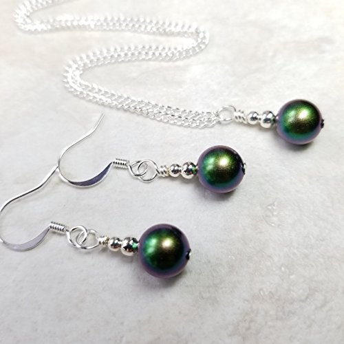Silver Plated Necklace and Earrings Set Made with Swarovski® Simulated Pearls, Scarabaeus Green