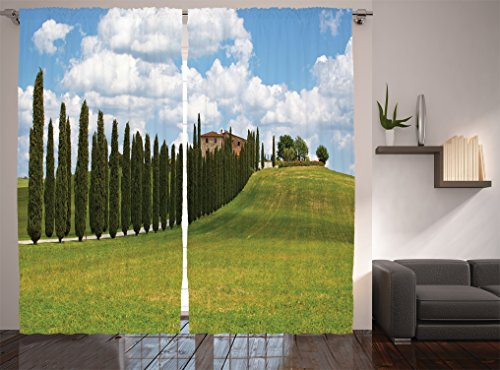 Ambesonne Tuscan Decor Collection, Landscape Abandoned Farmhouse Vineyard on Hill Vintage Village Image, Window Treatments, Living Room Bedroom Curtain 2 Panels Set, 108 X 84 Inches, Green (Vineyard Hill Collection)