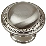 GlideRite Hardware 81784-SN-10 1.125 inch Diameter Round Rope Satin Nickel Cabinet Knobs 10 Pack