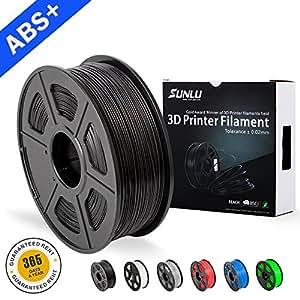 SUNLU ABS Filaments for 3D Printer-Green ABS Filament 1.75 mm,Low Odor Dimensional Accuracy +/- 0.02 mm 3D Printing Filament,2.2 LBS (1KG) Spool,Black