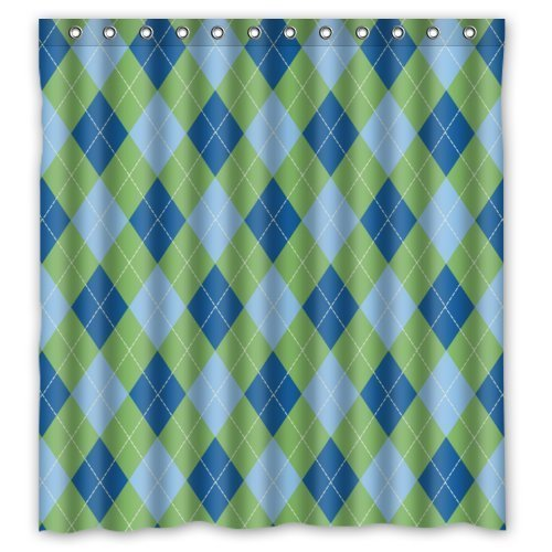 Argyle Thermal - Amazing ACC Window Curtain Elegance ( Blue Light Blue Green ) Argyle New Polyester Fabric Top Thermal Insulated Reflect Sunlights 1 Panel 52