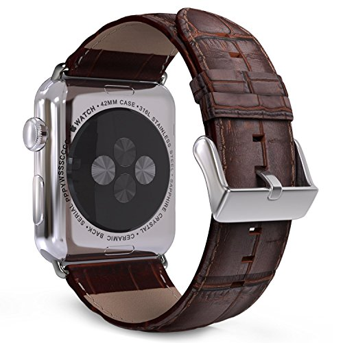 Price comparison product image MoKo Band for Apple Watch Series 3 Bands, Premium Genuine Leather Crocodile Pattern Replacement Strap for iWatch 42mm 2017 Series 3 / 2 / 1, BROWN (Not Fit 38mm Versions)