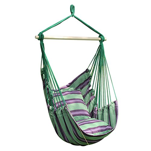 34'' Hanging Rope Hammock Chair Swing for any Outdoor or Indoor Spaces 264.5 Lbs – 2 Cushions (Green and purple stripe)