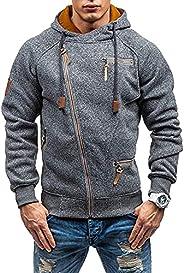 Rela Bota Men's Fashion Full-Zip Hoodies Jacket Slim Fit Athletic Pullover Fluorescent Zipper Stitching Sw
