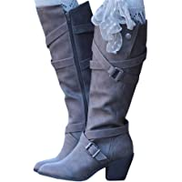 YOMISOY Womens Knee High Boots Strappy Buckle Chunky Mid Heel Winter Faux Suede Riding Booties