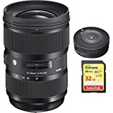 Sigma 24-35mm F2 DG HSM Standard-Zoom Lens for Canon EF Cameras (588954) with Sigma USB Dock for Canon Lens & Sandisk 32GB Extreme SD Memory UHS-I Card