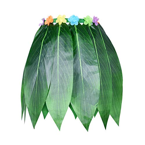 Ti Leaf Hula Skirt Hawaiian Leaf Skirt Green Grass Skirt with Artificial Hibiscus Flowers for Beach,Luau Party Supplies(39in waist26in Length)(Large Size XXXL)