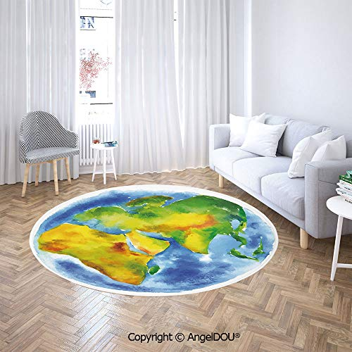 AngelDOU Soft Durable Round Children Carpet Play Mat Globe of Earth Painted in Watercolors Cartography Geography Continents Baby Crawling Blanket Area Rug. ()