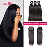 Cheap West Kiss Hair Brazilian Straight Virgin Remy Human Hair Extensions 3 Bundles with 4×4 Free Part Lace Closure Nature Color 100% Unprocessed (14 16 18 & 12 inch)