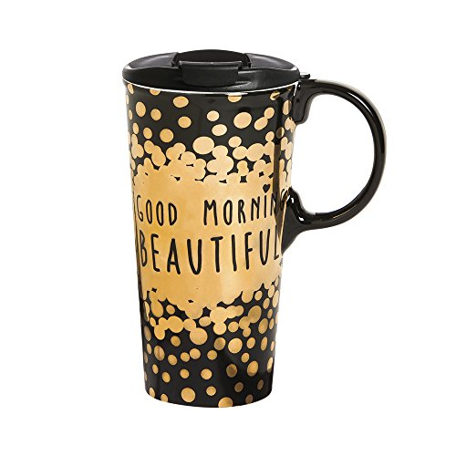 Cypress Home Ceramic Travel Mug with Gift Box, 17 ounces (Good Morning Beautiful)