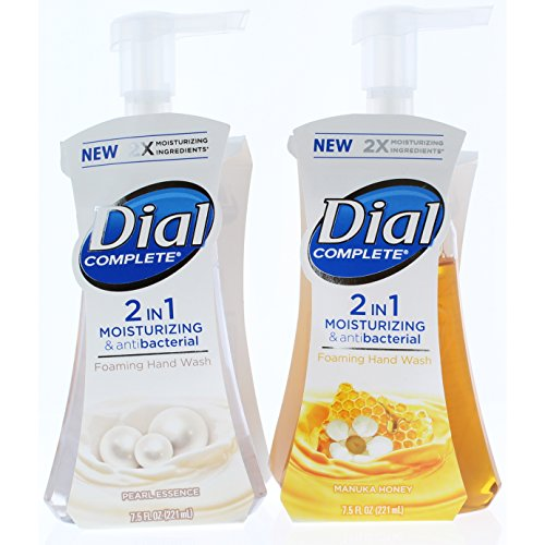 Dial Corporation Foaming Soap Dispenser - 2+2 Pk. Dial Complete 2 in 1 Moisturizing & Antibacterial Foaming Hand Wash, Pearl Essence(2) and Manuka Honey(2), 7.5 Ounce (4 Total Bottles)