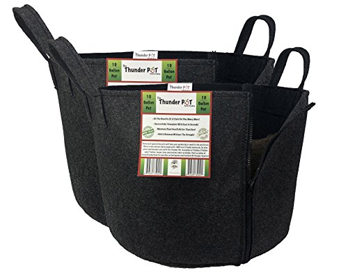 Hydroponic Soil - Thunder Pot Zippered Fabric Grow Bag 2-Pack Cloth Air Pots for Indoor, Outdoor & Hydroponic Use | Soil Planters for Flowers, Potato, Tomato, and Other Vegetables & Garden Plants (10-Gallon)