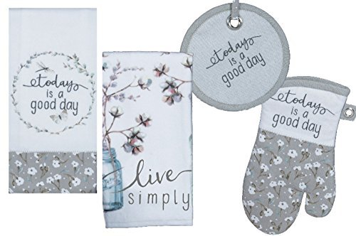 Kitchen Linens Set: Bundle Includes 1 Oven Mitt, 1 Potholder, 2 Kitchen Towels - Live Simply and Today is a Good Day Designs by Lisa Audit ()