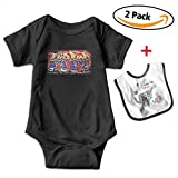 Louis Woodrow Hip Hop Unisex Cotton Short Sleeve Baby Onesies Infant Bodysuits with Bib