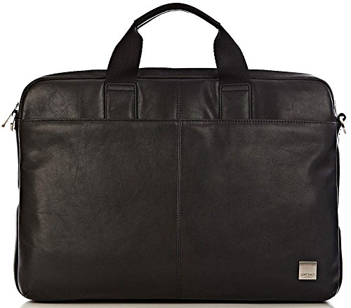 Knomo Luggage Durham Full Leather Slim Laptop Carrier 15-Inch, Black, One Size by Knomo