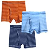 City Threads Boys' Striped Boxer Briefs 3-Pack Cotton/Poly Blend; For Sensitive Skin and Sensory Friendly SPD Made in the USA, Orange/Br Lt. Blue/Midn, 16