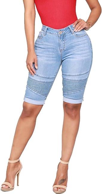 Guiran Femme Taille Haute Vintage Push Up Stretch Skinny Biker Pantacourt Bermuda Short en Jean