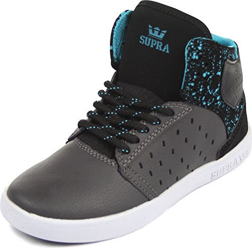 Supra - Unisex-Child Kids-Atom High Top Shoes, Size: 11 M US Little Kid, Color: Grey/Black/White (Supra High Tops Kids)