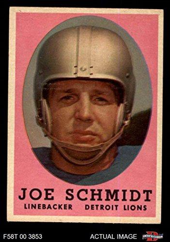 Joe Schmidt Detroit Lions - 1958 Topps # 3 Joe Schmidt Detroit Lions (Football Card) Dean's Cards 5 - EX Lions