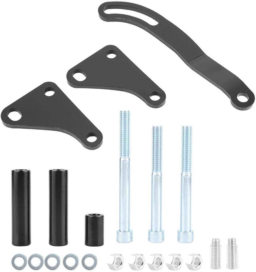 support de montage de pompe de direction assist/ée en m/étal noir pour SBC 350 GH4312 chrome Aramox Support de fixation