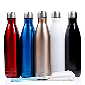 Sfee 25oz Vacuum Insulation Water Bottle - Double Wall, BPA-Free, Stainless Steel, Leak Proof-Large Cola Sports Travel Bottles Cup Perfect for Men, Outdoor, Fitness, Camping + Cleaning Brush (White)