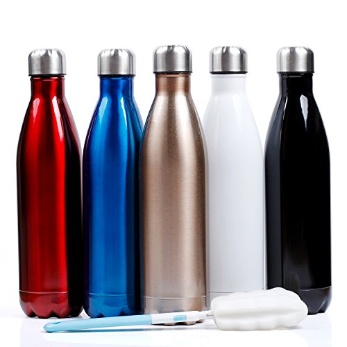 Sfee 25oz Vacuum Insulation Water Bottle - Double Wall, BPA-Free, Stainless Steel, Leak Proof-Large Cola Sports Travel Bottles Cup Perfect for Men, Outdoor, Fitness, Camping+Cleaning Brush(Champagne)