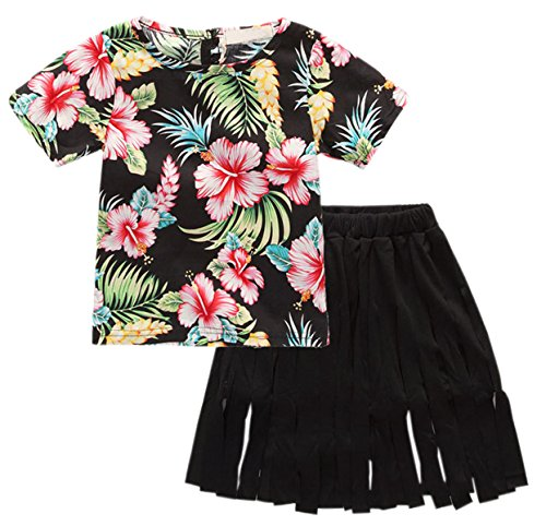SANGTREE GIRL Kid Girls Aloha Hawaiian Clothes Set, Short Sleeves Floral Print T Shirt Tops + Fringe Tassels Skirt Dress Outfit Set for Toddlers & Little Girls, Black, 4 Years/Height(39.4
