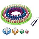 Readaeer Round Knitting Looms Set Craft Kit Tool with Hook Needle and Pompom Maker