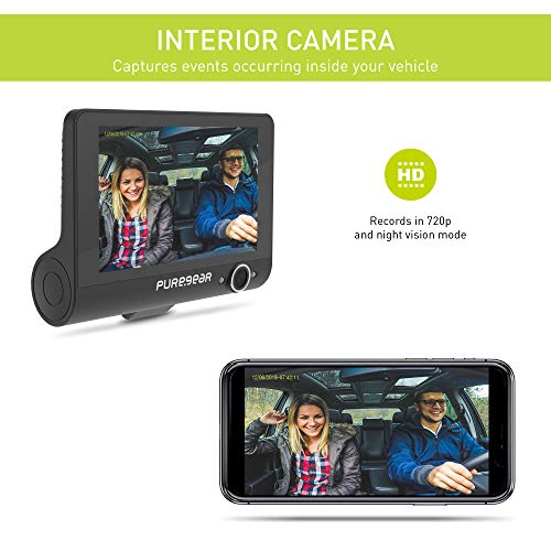 PureGear PureCam 4G LTE Connected Car Security System w/Free 3 Months of 2GB Data Plan, App, Dual Dash Cam, Cloud Storage, Infrared Night Vision, Live View, Wi-Fi, Built-in GPS, G-Sensor, Parking Mode