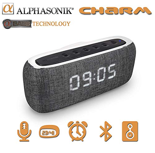 Alphasonik Charm Wireless Bluetooth Portable Speaker with Digital LED Alarm Clock, Auto and Manual Dimmer, FM Radio, HD Sound and Bass, Micro USB, Auxilliary 3.5mm, SD Card, for iPhone and Samsung (Micro Usb Alarm Clock)