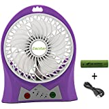Lucstar Mini USB fan with Adjustable Powerful Wind, Personal Portable Desktop Fan Rechargeable Battery,Quiet Design for Camping,Office, Household,Outside 3 Speeds Led,Purple