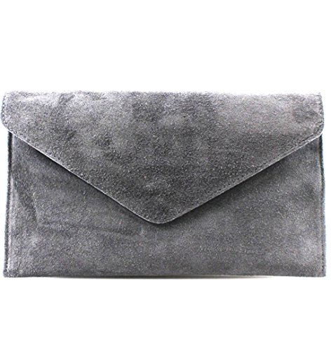 Leather grey Purse Clutch Suede Leahward d Handbag Bags Genuine Italian Envelope Party Wedding wqUw7tg