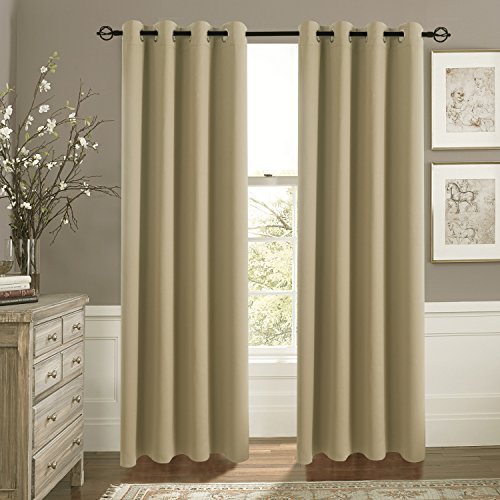 Blackout Curtain Panels for Glass Door - Aquazolax Nursery Essential Thermal Insulated Solid Grommet Top Blackout Draperies/ Drapes, 1 Pair, 54 x 72 Inch, - To Glasses Make How Sun
