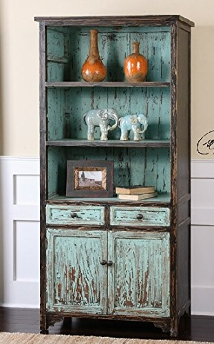 """72"""" Eco-Friendly Distressed Robin's Egg Blue Fir Vintage-Style Wooden Bookcase Cabinet"""