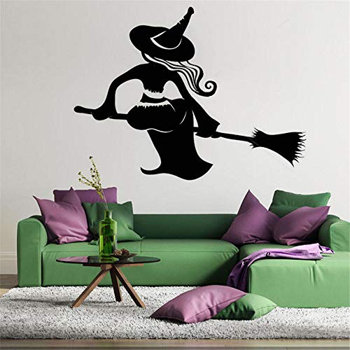 Scmkd Wall Stickers Witch Sitting On A Broom Happy Halloween Bedroom Furniture Removeble Bulldog Wall Stickers for Children -