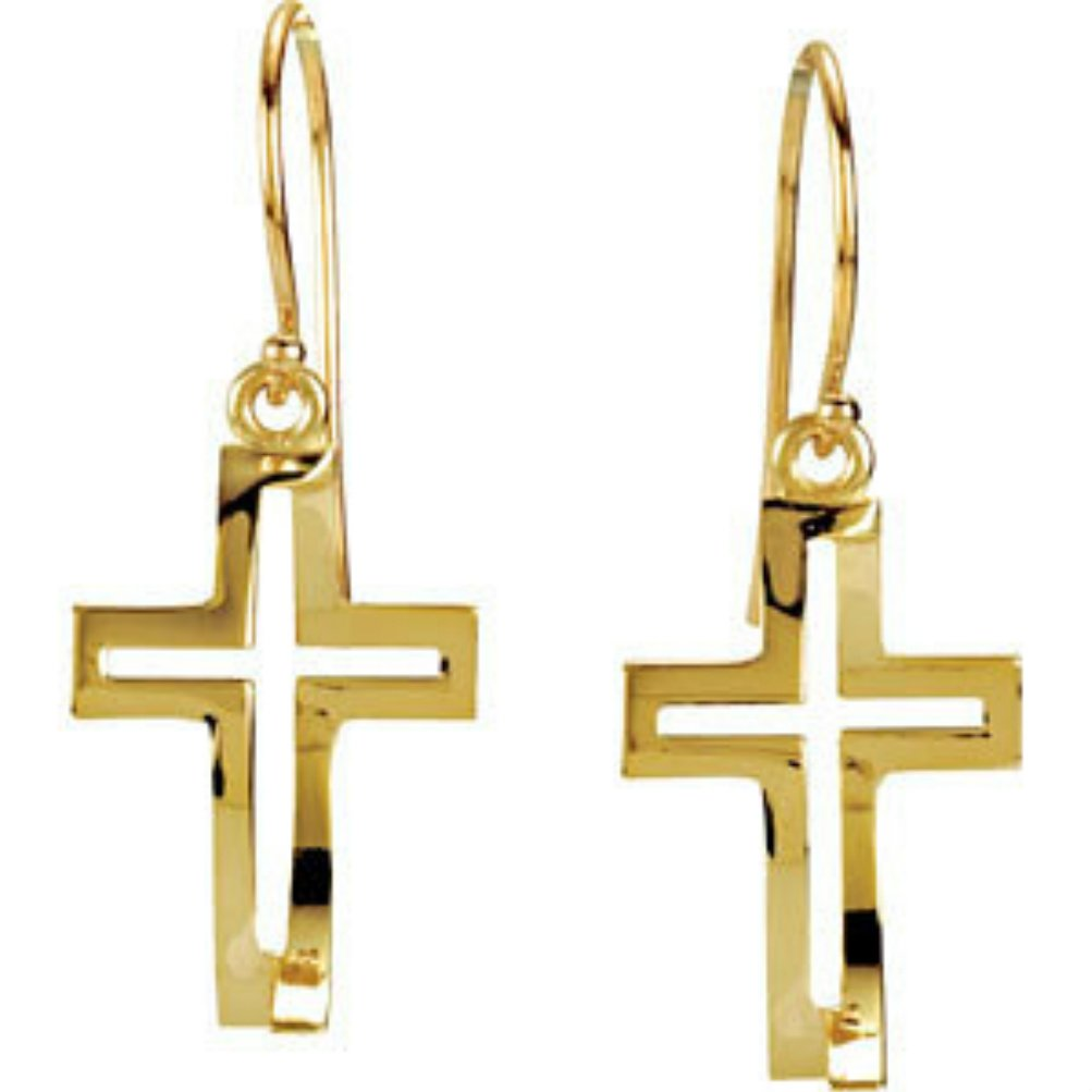 14k Yellow Gold Cross Fish Earrings by The Men's Jewelry Store (for HER)