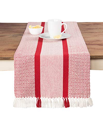 Sticky Toffee Cotton Woven Table Runner with Fringe, Traditional Diamond, Red, 14 in x 72 in