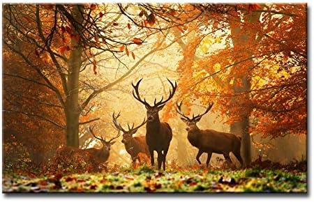 Tableau Triptyque Cerfs Dans La Forêt En Automne Couleur