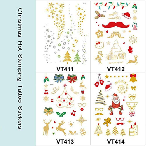 OSM&LX Christmas Temporary Tattoo Stickers Cartoon Disposable Tattoo Stick 10 Sheets Children Kids