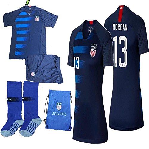 USA Soccer Team Christian Pulisic Carli Lloyd Alex Morgan Replica Kid Jersey Kit : Shirt, Short, Socks, Soccer Bag (C. Morgan Blue, Size K26 (9-10 Yrs Old Approx.))